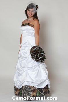 white camo wedding dress <3
