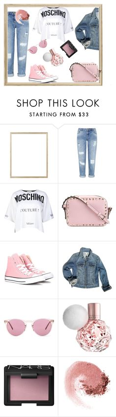 """Pink day,"" by taniouche16 ❤ liked on Polyvore featuring Rifle Paper Co, Miss Selfridge, Moschino, Valentino, Converse, Boston Proper, Oliver Peoples and NARS Cosmetics"