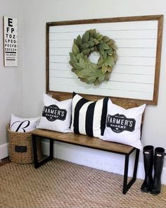 Use these simple shiplap wall ideas to add a creative farmhouse flair to your home! Each idea is easy to install and beautiful to look at! Home Improvement Projects, Home Projects, Home Interior, Interior Design, Home Decoracion, Foyer Decorating, Decorating Ideas, Decorating Kitchen, Holiday Decorating