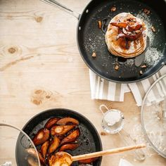 Recipes | Fluffy Fall Pancakes with Molasses-Thyme Pears | Sur La Table