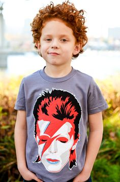 "Red ""Bowie"" Tee Shirt By Hatch For Kids - Children's Clothing Ziggy Stardust David Bowie Tshirt - Sizes 2t, 4t, 6t, 8, 10, 12"
