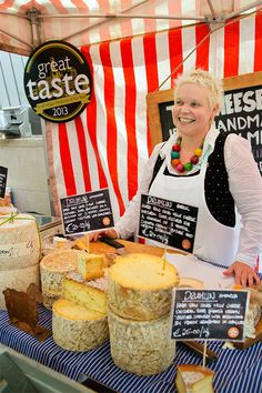 "At the Temple Bar Market in central Dublin, Silke Cropp sells her ""Creemy"" sheep cheese. Cheese has made a huge resurgence in Ireland in the past twenty years. Where there used to be only cheddar, now there are goat, sheep and cow cheeses in abundance. (Photograph by Catherine Karnow)"