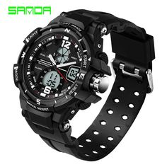 >> Click to Buy << SANDA 2017 Rubber Men Waterproof LED Watch Sports Military Watches outdoor Resistant Men's Analog Quartz Double Display hours #Affiliate