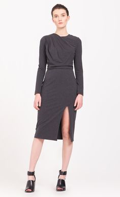 Asymmetric Draped Jersey Pencil Dress (with buckle belt) A sophisticated and sexy design, this long sleeved jersey pencil dress is designed with an asymmetric draped bodice and gathered shoulders, and an alluring side split on the skirt. The dress comes with an elasticated faux leather belt with a black metal buckle. Pair with ankle boots for the ultimate in power dressing. https://www.paisie.com/collections/dresses/products/asymmetric-draped-jersey-pencil-dress-with-buckle-belt