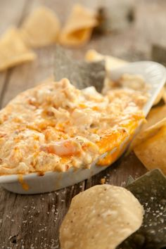 Paula Deen's crab meat, parmesan, and shrimp dip!! - Click image to find more Food & Drink Pinterest pins