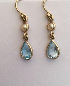 32a7a0f44 9ct Gold Topaz and Pearl Drop Earrings by VintageJewelleryAtic on Etsy Pearl  Drop Earrings, Vintage