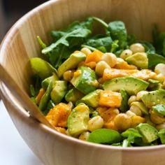 Arugula, mango, avocado, macadamia nut salad