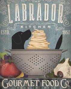 Lab black lab labrador Dog Kitchen artwork chef cooking dog illustration in art UNFRAMED artists pri