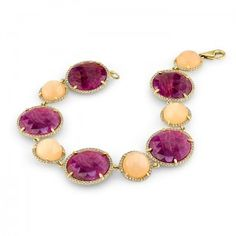 Peach Moonstone & Ruby Gold Bracelet With Diamonds Olympic Colors, Peach Moonstone, Moonstone Jewelry, Love Bracelets, Diamond Pendant, Diamonds, Colours, Jewellery, Elegant