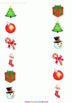 Preschool Christmas, Christmas Crafts For Kids, Xmas Crafts, Kids Christmas, Nursery Worksheets, Art Worksheets, Matching Worksheets, Christmas Worksheets, Christmas Printables