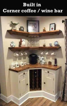 Here are 30 brilliant coffee station ideas for creating a little coffee corner that will help you decorate your home. See more ideas about Coffee corner kitchen, Home coffee bars and Kitchen bar decor, Rustic Coffee Bar. Diy Home Decor, Room Decor, Diy Home Bar, Home Wine Bar, Sweet Home, Home Coffee Stations, In Home Coffee Bar, Coffee Bars In Kitchen, Coffee Kitchen Decor