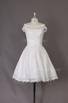 Vintage short lace wedding dress, lovely knee length wedding dress, destination, outdoor wedding dress on Etsy, $149.99
