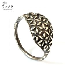 floral pattern, Oxidized Sterling silver , Oval Shape ring, flower ring, recycled silver , women fashion ring, engraved , delicate ring on Etsy, $72.00