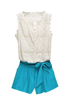 white lace top & blue shorts