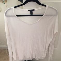 Long sleeved basic tee Thin, white, cotton, comfy, great for layering Forever 21 Tops Tees - Long Sleeve