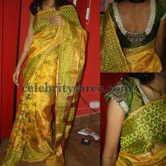 Printed Paper Silk Saree | Saree Blouse Patterns