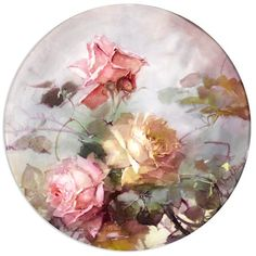 Franz Arthur Bischoff (American, Tray with pink and yellow roses signed 'Franz A Bischoff' (lower right) with printed in green 'T&V / Limoges / France' (on the underside) porcelain diameter: 13 Painted Plates, Hand Painted, Painted Roses, Rose Art, China Painting, Vintage Diy, Yellow Roses, Pink Roses, Tea Roses