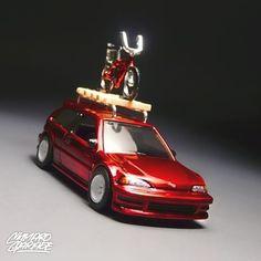 Hot wheels 1990 Honda Civic. - spectraflame red paint  - detailed headlamps and tail lights  - handmade roof rack  - popcycle's bike  - watanabe real rider wheels    #hotwheels #hotwheelscar #hotwheelsrims #hotwheelsphoto #hotwheelspics #hotwheelscustom #toycrewbuddies #toycar #loves_toycars #diecasttoys #diecastcars #lamleycustoms #fnlcustom #cgworks #jdm_custom_hotwheels #jdm #japan #civic #honda #stance #candytone #toyphotography #spectraflamefever