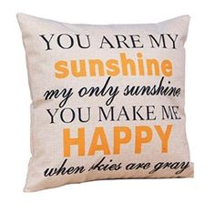 Linen quote throw pillow