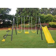 An irresistible addition to any backyard, the XDP Recreation Rising Sun Metal Swing Set delivers the full playground experience with plenty of rides. Swing And Slide Set, Best Swing Sets, Play Swing Set, Toddler Swing Set, Swing Sets For Kids, A Frame Swing, Swing Seat, Cedar Swing Sets, Backyard Swing Sets