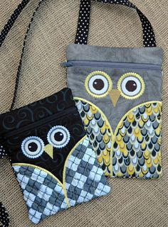 Owl Hipster Purse Set designed by Embroidery Garden