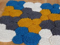 Multi-Coloured Hand-Knitted Rug 100% Wool by SimpleCozyComforts