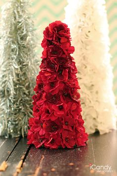 Silk Flower Christmas Tree Tutorial USES STORE BOUGHT FLOWERS GLUED TO FOAM CONE