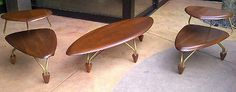 UNBELIEVABLY RARE JOHN KEAL MID CENTURY MODERN COFFEE TABLE SET WITH PADDLE FEET