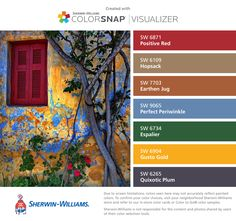 I found these colors with ColorSnap® Visualizer for iPhone by Sherwin-Williams: Positive Red (SW 6871), Hopsack (SW 6109), Earthen Jug (SW 7703), Perfect Periwinkle (SW 9065), Espalier (SW 6734), Gusto Gold (SW 6904), Quixotic Plum (SW 6265).