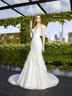 Moonlight Collection J6479 re-embroidered lace drop waist wedding gown