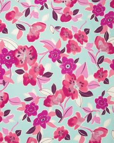 Watercolour Floral Pink on Blue, Truro Fabrics