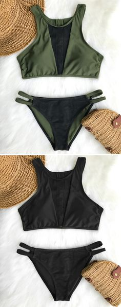 Take a plunge in the pool with this pretty bikini set. It features sporty tank-top and hot mesh-splicing. So chic & fresh~ Zipper at back gives you great support. FREE shipping! Shop Now!