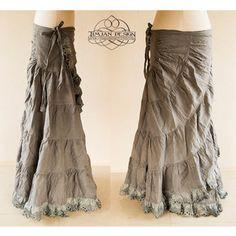 STEAMPUNK HEMP SKIRT Burning man Hippie Boho Tribal Steam punk Fairy Belly Dance Pixie Burlesque Faery Grey tie dye