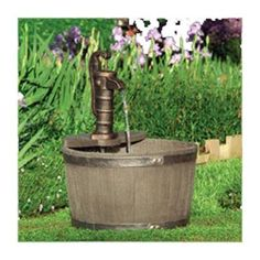 Little Giant FA-WB-W Whiskey Barrel Weather Wood Finish Water Fountain Hand Pump-566740 - The Home Depot