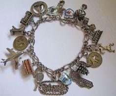 Vtg STERLING Silver Enamel CALIFORNIA +WEST Travel Charm Bracelet CA AZ NV CO HI