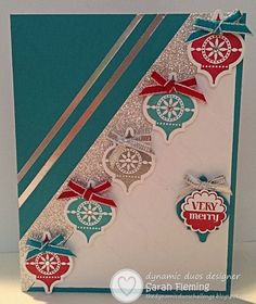 Very Merry Mosaics - Sarah Fleming, Paper: CS:Bermuda Bay and Whisper White; Silver Glimmer paper; Silver Foil Sheets Ink: Bermuda Bay, Real Red, Versamark Stamps: Very Merry Tags Tools/Acces: Mosaic punch, 7/8″ Scalloped Circle punch, Modern Mosaics embossing folder, Silver Stampin' Emboss Powder, Heat Tool, Stampin' Trimmer Embellishments/Adhesives: Rhinestone Basic Jewels, Bermuda Bay 1/8″ Taffeta Ribbon, Real Red 1/8″ Taffeta Ribbon, 1/8″ Silver Ribbon, Glue Dots, Stampin' Dimensionals