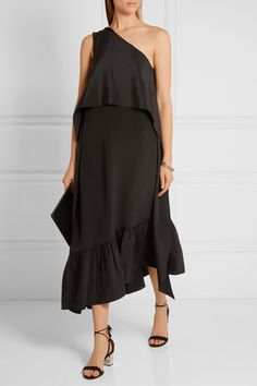 Tibi's one-shoulder dress is cut from silk crepe de chine in a loose, floaty silhouette. This effortless black style is finished with an asymmetric ruffled hem, cropped overlay and optional back ties.