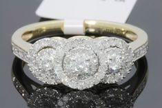 Round Halo Diamond 3 Stone Engagement & Wedding Ring Yellow Gold Over Bridal Bands, Wedding Band Sets, Wedding Rings, Wedding Engagement, Wedding Jewelry, Three Stone Engagement Rings, Diamond Engagement Rings, Yellow, Halo Diamond