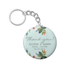 Festive Florals - Baby Blue + Olive / Apple Green Key Chain