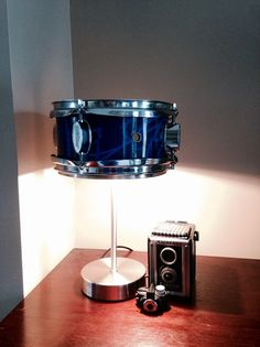 Repurposed blue snare drum chrome industrial by MusicAsArtBySarah