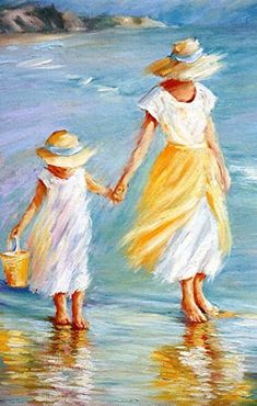 """Mother and Daughter to September McGee Oil ~ 16 """"x - Art Painting Painting People, Figure Painting, Painting & Drawing, Mother Painting, Pastel Art, Beach Art, Acrylic Art, Beautiful Paintings, Painting Inspiration"""