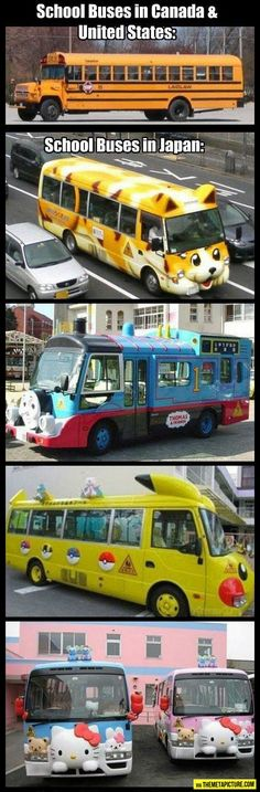 School buses: US vs. Japan. I clearly went to school in the wrong countries. :/