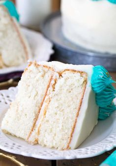 a thick slice of white cake