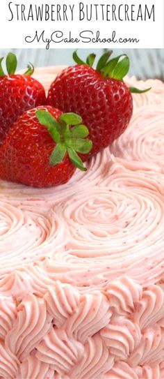 This Strawberry Buttercream Frosting Recipe is the BEST! Pipes beautifully, has an amazing strawberry flavor, and is simple to make! Strawberry Buttercream Frosting, Buttercream Recipe, Frosting Recipes, Easy Desserts, Delicious Desserts, Dessert Recipes, Cake Recipes, Checkerboard Cake, Frosty Recipe