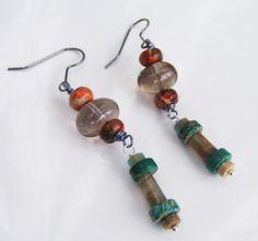 Boucles d'oreille jaspes sédiment vertes et orange et quartz fumée : Boucles d'oreille par adrimag