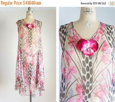 40% OFF SALE 1920s rare exotic print chiffon by SwoonShopVintage