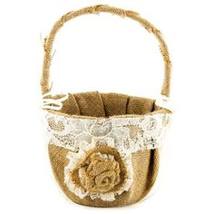 """Tie together a gorgeous wedding theme with this classy Burlap & Lace Flower Girl Basket! With ruched brown burlap with a lace trim, a lace and burlap flower in the front center, and ivory satin bows on either side, this basket is ready to make its way down the aisle in the hand of an adorable little flower girl.        Dimensions:      Width: 6 3/4""""    Height: 9 3/4"""""""