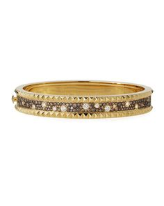 David Webb Motif 18k Gold Diamond Skip Zigzag Bracelet with Black Enamel & Platinum OdlZJ