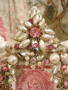 Pearl and Pink Jeweled Picture Frame by mylulabelles, via Flickr