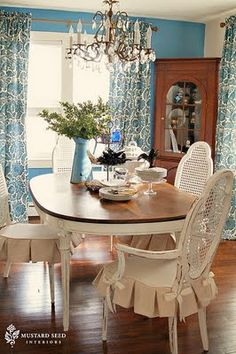 Love the pleated chair slipcover